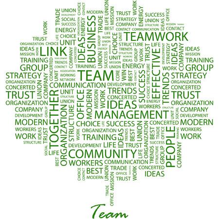 work together: TEAM. Afbeelding met verschillende associatie voorwaarden op witte achtergrond.