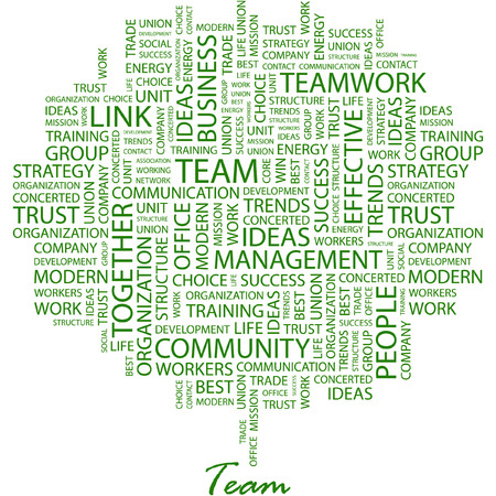 team worker: TEAM. Illustration with different association terms in white background.