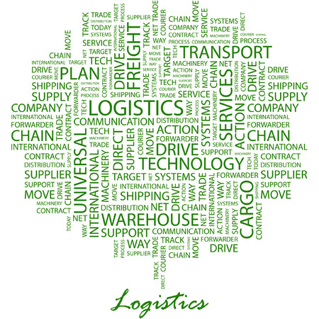 LOGISTICS. Illustration with different association terms in white background. Vector