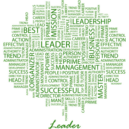superintendent: LEADER. Illustration with different association terms in white background.