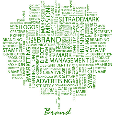 more information: BRAND. Illustration with different association terms in white background. Illustration