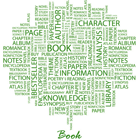 BOOK. Illustration with different association terms in white background. Vector