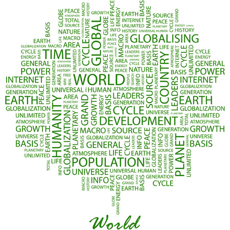 WORLD. Illustration with different association terms in white background. Vector