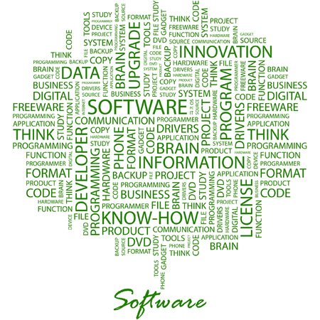 shareware: SOFTWARE. Illustration with different association terms in white background.