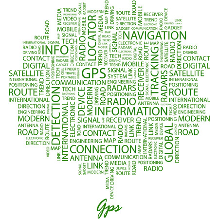GPS. Illustration with different association terms in white background. Stock Vector - 7170236