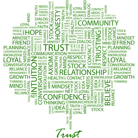 honesty: TRUST. Illustration with different association terms in white background.