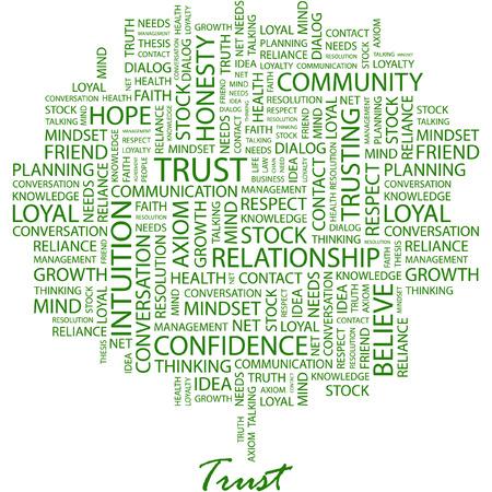 geloof hoop liefde: VERTROUWEN. Afbeelding met verschillende associatie voorwaarden op witte achtergrond.