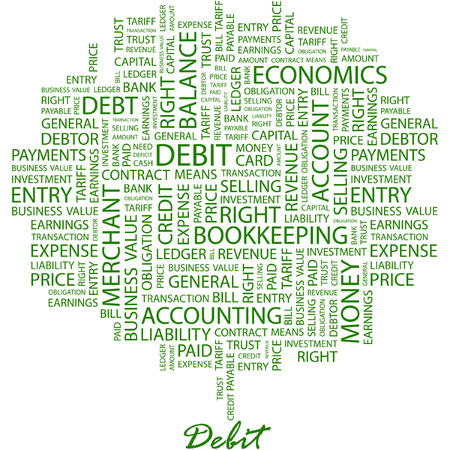 ledger: DEBIT. Illustration with different association terms in white background.