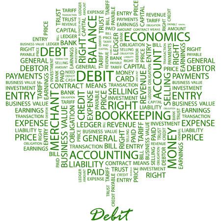 indebtedness: DEBITO. Illustrazione con associazione diversi termini a sfondo bianco.