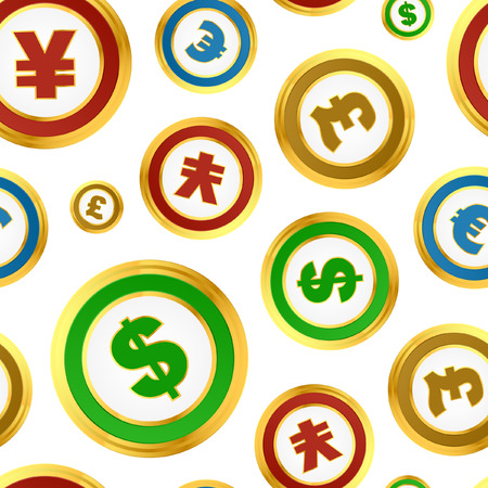 Seamless pattern with dollar, euro,  yen and pound signs. Vector