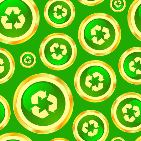 Seamless pattern with recycle symbols Vector