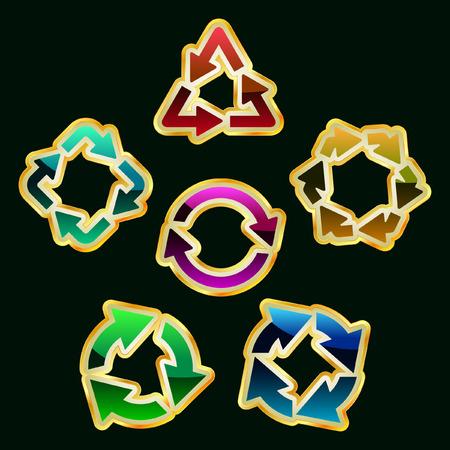 recycle symbol vector: Recycle symbol. Vector set.