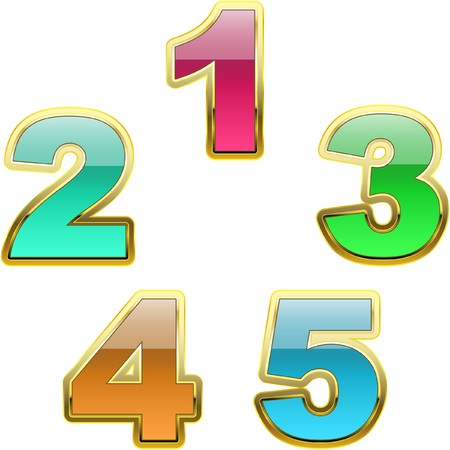 subtract: Number icon set. Illustration