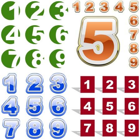 five objects: Numero icona.