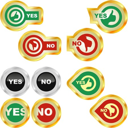 Yes and No icon. beautiful icon set. Stock Vector - 7243195