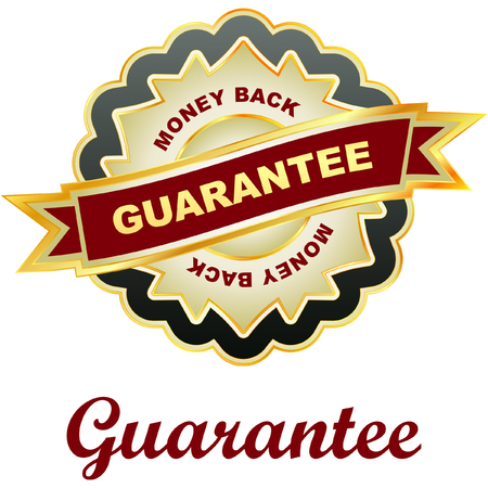 moneyback: Guarantee label.   Illustration