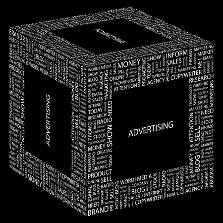 apprise: ADVERTISING. Word collage on black background. illustration.