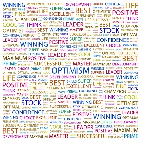 OPTIMISM. Word collage on white background. illustration. Stock Vector - 7331320