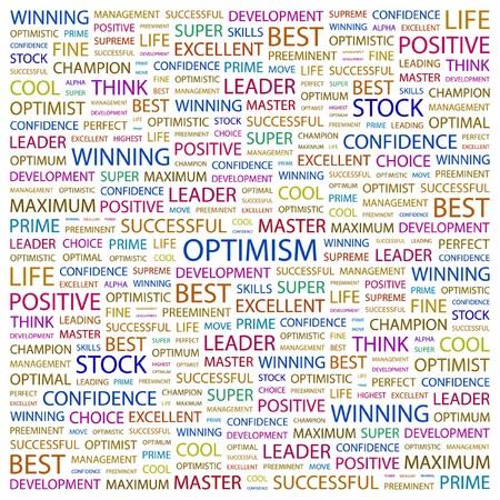 OPTIMISME. Woord collage op witte achtergrond. illustratie.