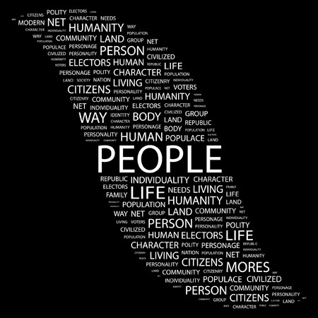 commonality: PEOPLE. Word collage on black background. illustration.