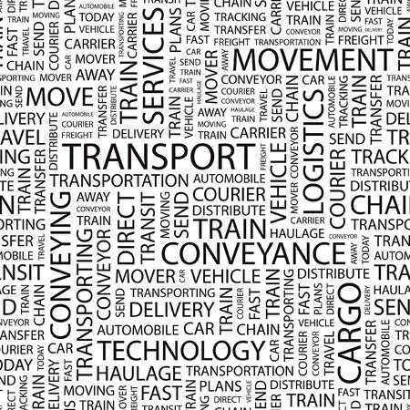 TRANSPORT. Seamless  background. Word cloud illustration.     Vector