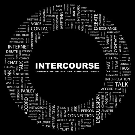 INTERCOURSE. Word collage on black background. illustration. Stock Vector - 7331042