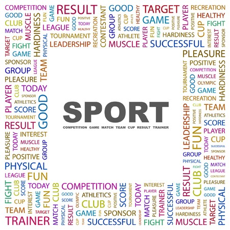 athletic type: SPORT. Word collage on white background. illustration.