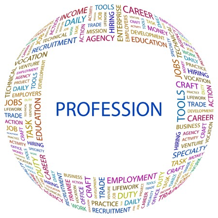 job functions: PROFESSION. Word collage on white background.  illustration.