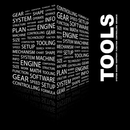 TOOLS. Word collage on black background.  illustration. Stock Vector - 7331308