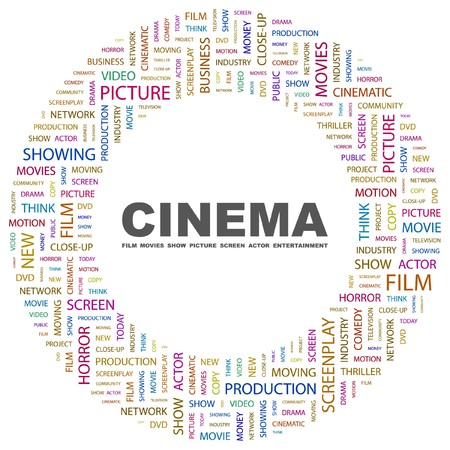 screenplay: CINEMA. Word collage on white background. illustration.    Illustration