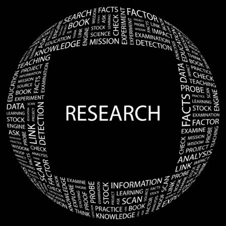 RESEARCH. Word collage on black background. illustration. Stock Vector - 7331096