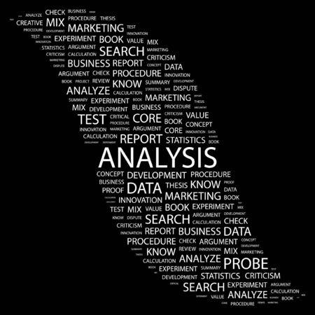 ANALYSIS. Word collage on black background. illustration.    Stock Vector - 7330977