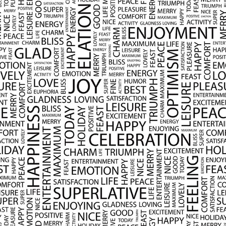 JOY. Seamless pattern with word cloud.   Vector