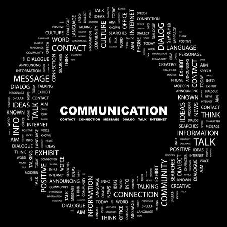 known: COMMUNICATION. Word collage on black background. illustration.    Illustration