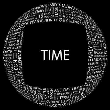 chronology: TIME. Word collage on black background. illustration.