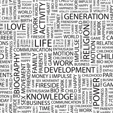 biography: LIFE. Seamless  pattern with word cloud.