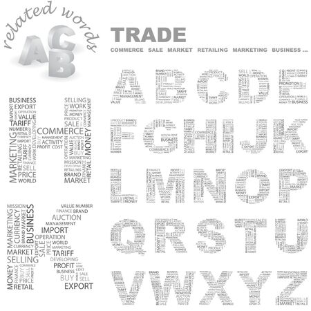 embargo: TRADE. letter collection. Word cloud illustration.   Illustration