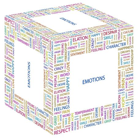 endearment: EMOTIONS. Word collage on white background illustration.    Illustration