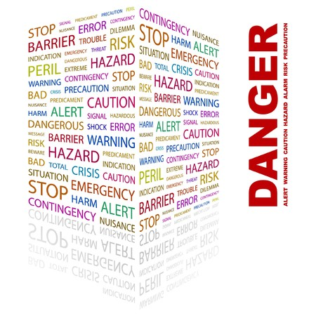 DANGER. Word collage on white background.  illustration.    Vector