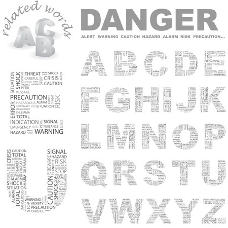 nuisance: DANGER.  letter collection. Word cloud illustration.