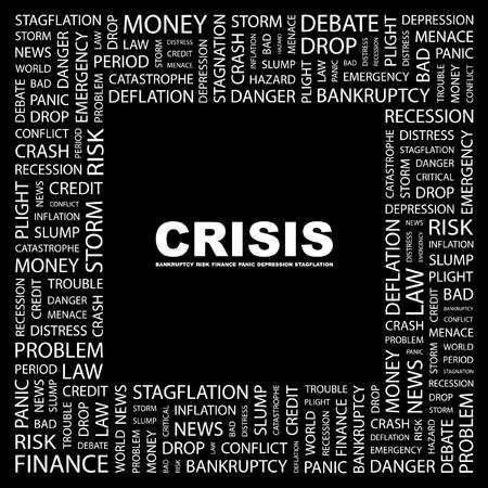 endangerment: CRISIS. Word collage on black background. illustration.