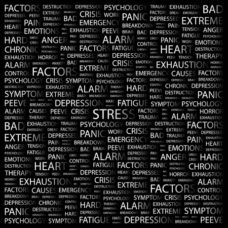 consternation: STRESS. Word collage on black background. illustration.