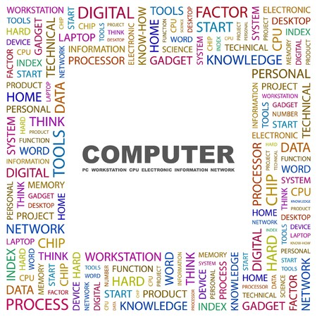office automation: COMPUTER. Word collage on white background. illustration.