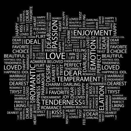 LOVE. Word collage on black background.  illustration.    Vector