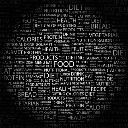 potluck: FOOD. Word collage on black background. illustration.    Illustration