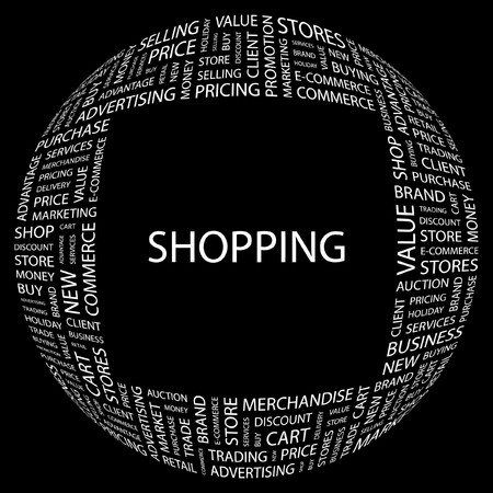 SHOPPING. Word collage on black background. illustration.    Stock Vector - 7331100