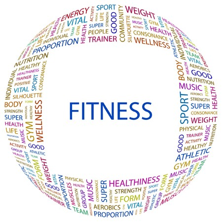salubrity: FITNESS. Word collage on white background. illustration.