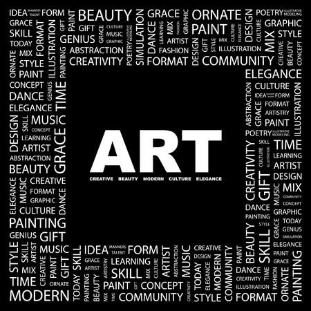 ornamented: ART. Word collage on black background.  illustration.