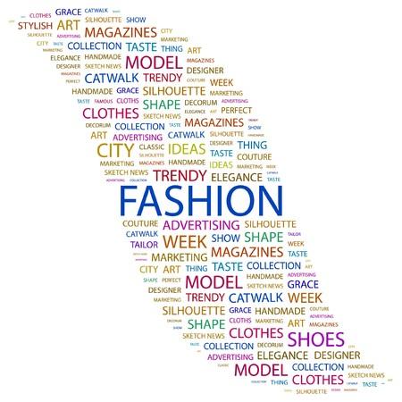 catwalk model: MODA. Parola di collage su sfondo bianco. illustrazione.