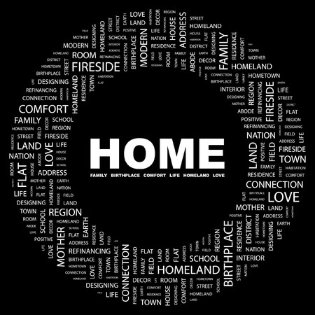 HOME. Word collage on black background. illustration. Stock Vector - 7331039